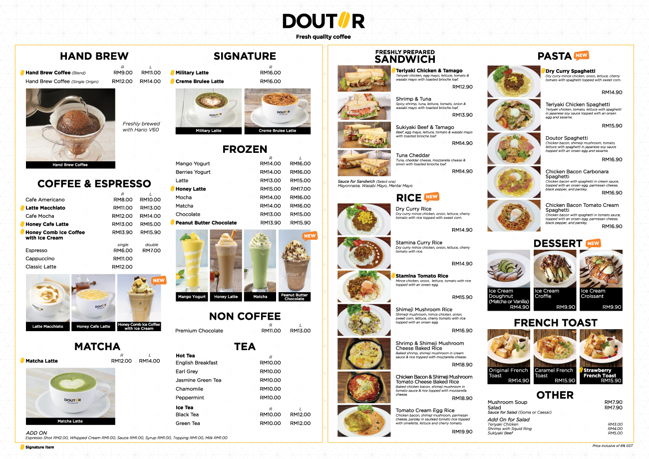 Doutor Coffee Menu